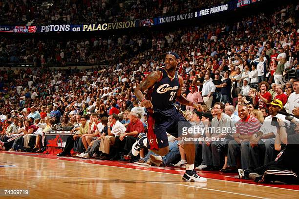 LeBron James of the Cleveland Cavaliers reacts against the Detroit Pistons in Game Five of the Eastern Conference Finals during the 2007 NBA Playoffs...