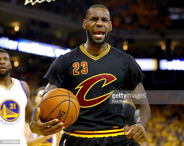 LeBron James of the Cleveland Cavaliers reacts against the Golden State Warriors during the second quarter in Game 5 of the 2016 NBA Finals at ORACLE...