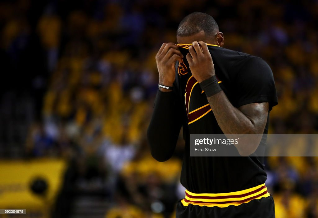 LeBron James #23 of the Cleveland Cavaliers reacts against the Golden State Warriors during the second half in Game 2 of the 2017 NBA Finals at ORACLE Arena on June 4, 2017 in Oakland, California.