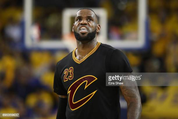 LeBron James of the Cleveland Cavaliers reacts against the Golden State Warriors in Game 5 of the 2017 NBA Finals at ORACLE Arena on June 12 2017 in...
