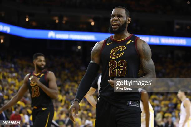LeBron James of the Cleveland Cavaliers reacts against the Golden State Warriors during the second half in Game 1 of the 2018 NBA Finals at ORACLE...