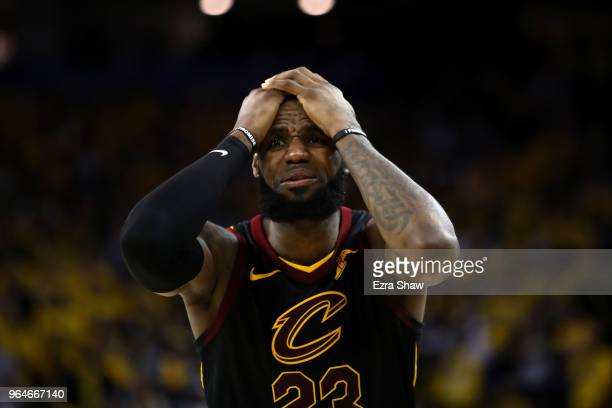 LeBron James of the Cleveland Cavaliers reacts against the Golden State Warriors in Game 1 of the 2018 NBA Finals at ORACLE Arena on May 31 2018 in...
