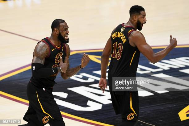 LeBron James of the Cleveland Cavaliers reacts against the Golden State Warriors in the second half during Game Three of the 2018 NBA Finals at...