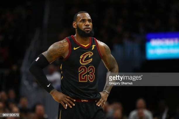LeBron James of the Cleveland Cavaliers reacts against the Golden State Warriors during Game Three of the 2018 NBA Finals at Quicken Loans Arena on...