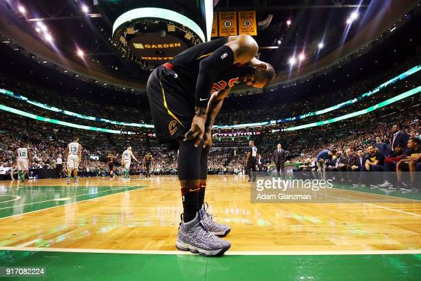 Lebron James of the Cleveland Cavaliers reacts during a game against the Boston Celtics at TD Garden on February 11 2018 in Boston Massachusetts NOTE...