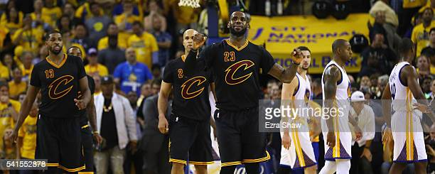 LeBron James of the Cleveland Cavaliers reacts during the second half against the Golden State Warriors in Game 7 of the 2016 NBA Finals at ORACLE...