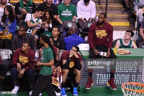 LeBron James of the Cleveland Cavaliers reacts from the bench during the game against the Boston Celtics on Game Five of the 2018 NBA Eastern...