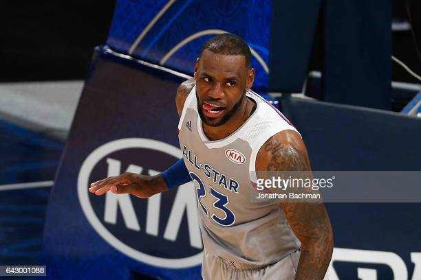 LeBron James of the Cleveland Cavaliers reacts in the first half of the 2017 NBA AllStar Game at Smoothie King Center on February 19 2017 in New...