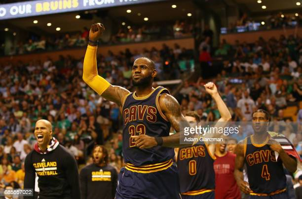 LeBron James of the Cleveland Cavaliers reacts in the first half against the Boston Celtics during Game Two of the 2017 NBA Eastern Conference Finals...