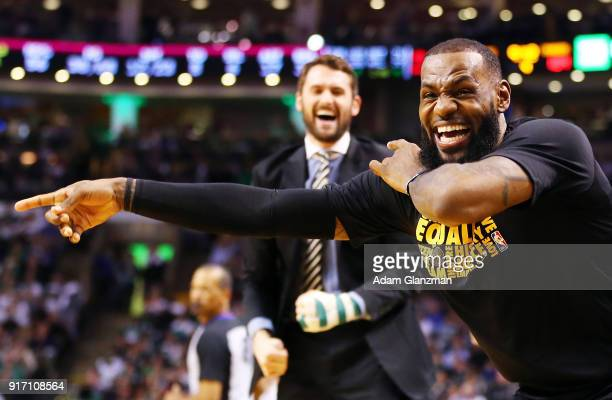 Lebron James of the Cleveland Cavaliers reacts in the second half during a game against the Boston Celtics at TD Garden on February 11 2018 in Boston...