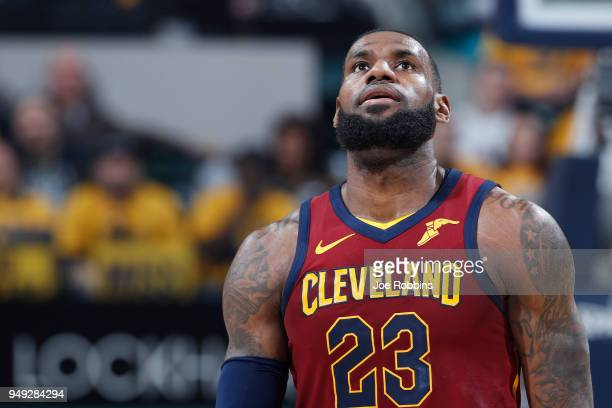 LeBron James of the Cleveland Cavaliers reacts in the second half of game three of the NBA Playoffs against the Indiana Pacers at Bankers Life...