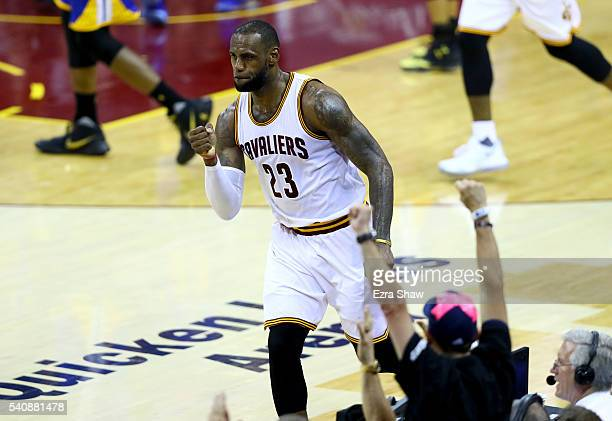 LeBron James of the Cleveland Cavaliers reacts in the second half while taking on the Golden State Warriors in Game 6 of the 2016 NBA Finals at...