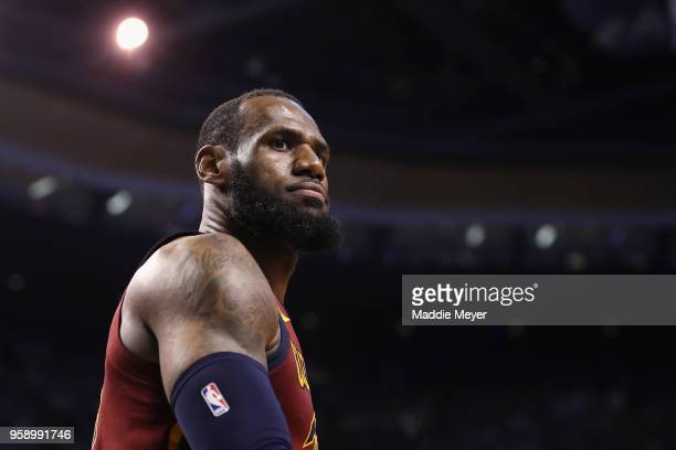 LeBron James of the Cleveland Cavaliers reacts in the second half against the Boston Celtics during Game Two of the 2018 NBA Eastern Conference...
