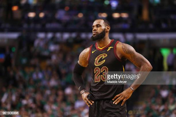 LeBron James of the Cleveland Cavaliers reacts in the second half against the Boston Celtics during Game Five of the 2018 NBA Eastern Conference...
