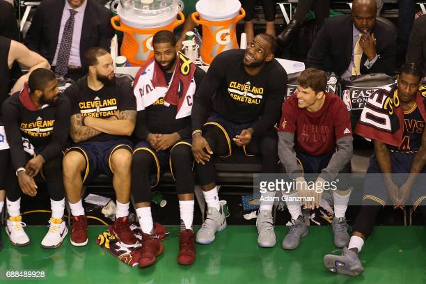 LeBron James of the Cleveland Cavaliers reacts on the bench during the fourth quarter against the Boston Celtics in Game Five of the 2017 NBA Eastern...