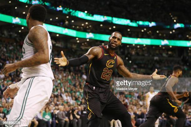 LeBron James of the Cleveland Cavaliers reacts to a call in the first half against the Boston Celtics during Game Five of the 2018 NBA Eastern...
