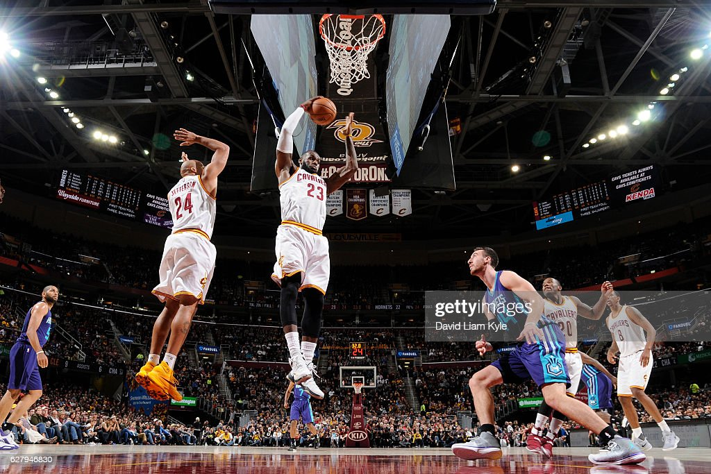 LeBron James #23 of the Cleveland Cavaliers rebounds against the Charlotte Hornets on November 13, 2016 at Quicken Loans Arena in Cleveland, Ohio.
