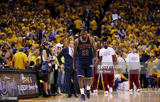 LeBron James of the Cleveland Cavaliers recta safter their 91 to 104 loss against the Golden State Warriors during Game Five of the 2015 NBA Finals...