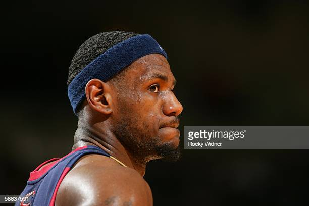 Lebron James of the Cleveland Cavaliers relaxes between plays during the game against the Golden State Warriors on January 20 2006 at the Arena in...