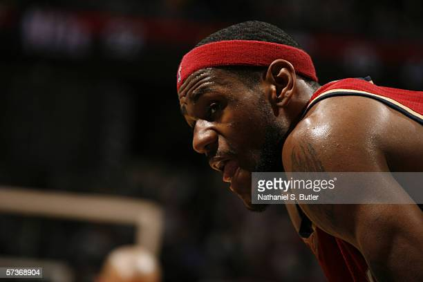 LeBron James of the Cleveland Cavaliers rests during the game against the New Jersey Nets on April 8, 2006 at the Continental Airlines Arena in East...