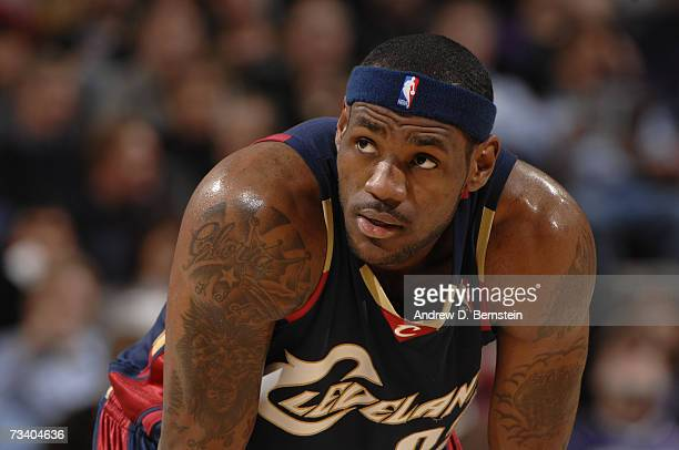 LeBron James of the Cleveland Cavaliers rests during the game against the Sacramento Kings at Arco Arena on January 9 2007 in Sacramento California...