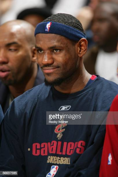 Lebron James of the Cleveland Cavaliers rests on the bench during the game against the Golden State Warriors on January 20 2006 at the Arena in...