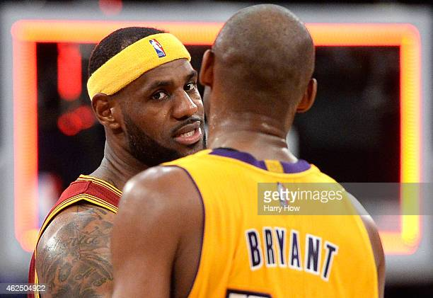 LeBron James of the Cleveland Cavaliers shakes hands with Kobe Bryant of the Los Angeles Lakers after a 109102 Cavalier win at Staples Center on...