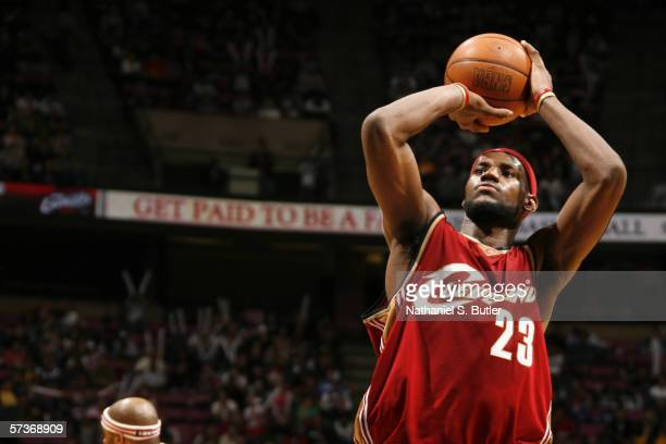 LeBron James of the Cleveland Cavaliers shoots a free throw against the New Jersey Nets during the game on April 8, 2006 at the Continental Airlines...