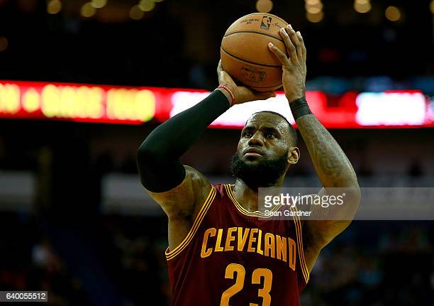 LeBron James of the Cleveland Cavaliers shoots a free throw during a game against the New Orleans Pelicans at the Smoothie King Center on January 23...