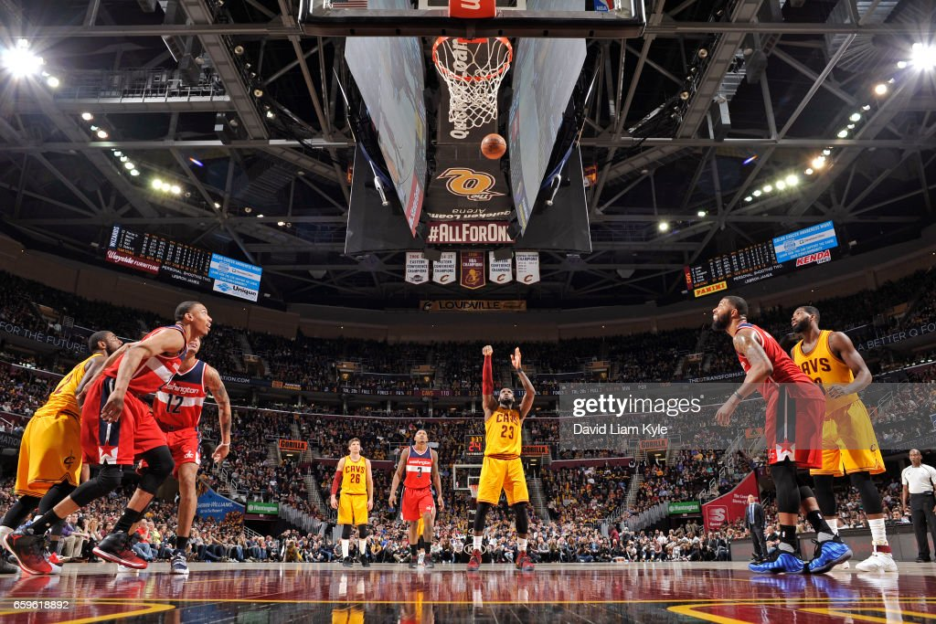 LeBron James #23 of the Cleveland Cavaliers shoots a free throw during a game against the Washington Wizards on March 25, 2017 at Quicken Loans Arena in Cleveland, Ohio.