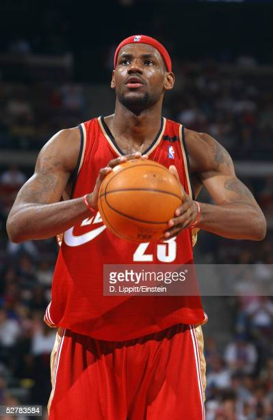 LeBron James of the Cleveland Cavaliers shoots a free throw during the game with the Detroit Pistons on April 17 2005 at the Palace of Auburn Hills...