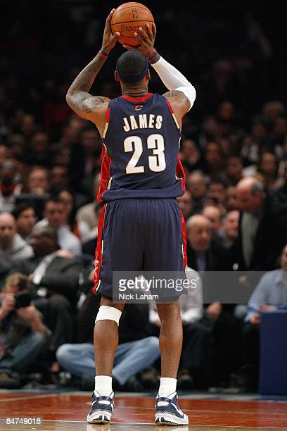 LeBron James of the Cleveland Cavaliers shoots a free throw during the game against the New York Knicks on February 4 2009 at Madison Square Garden...