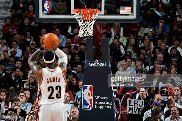 LeBron James of the Cleveland Cavaliers shoots a free throw during the game against the Chicago Bulls on November 5, 2009 at Quicken Loans Arena in...