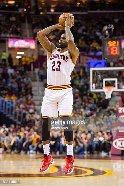 LeBron James of the Cleveland Cavaliers shoots a jump shot during the first half against the Philadelphia 76ersat Quicken Loans Arena on December 20...