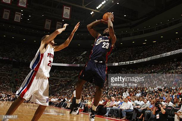 LeBron James of the Cleveland Cavaliers shoots a jump shot over Tayshaun Prince of the Detroit Pistons in Game Five of the Eastern Conference Finals...