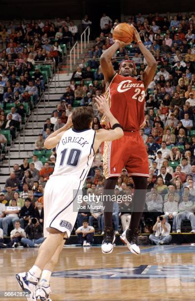 Lebron James of the Cleveland Cavaliers shoots a jumpshot over Gordan Giricek of the Utah Jazz January 21 2006 at the Delta Center in Salt Lake City...