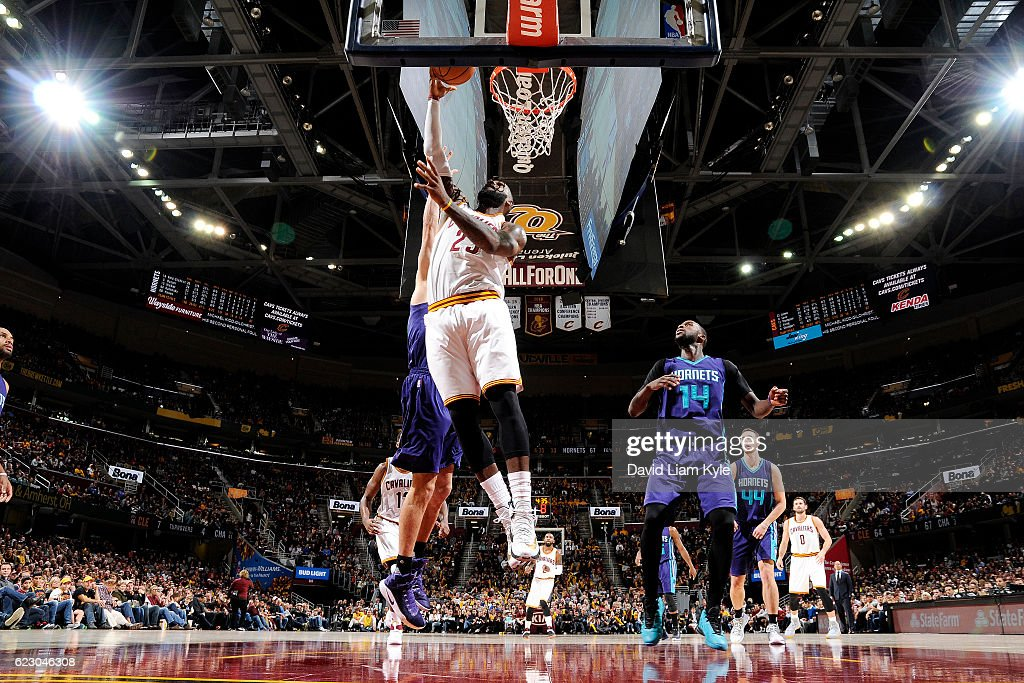 LeBron James #23 of the Cleveland Cavaliers shoots a lay up during the game against the Charlotte Hornets on November 13, 2016 at Quicken Loans Arena in Cleveland, Ohio.