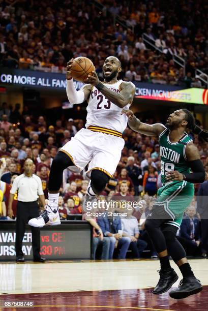 LeBron James of the Cleveland Cavaliers shoots against Jae Crowder of the Boston Celtics in the fourth quarter during Game Four of the 2017 NBA...