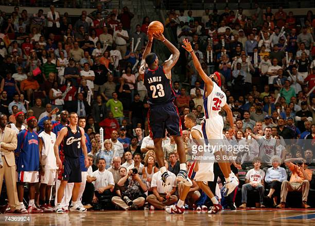 LeBron James of the Cleveland Cavaliers shoots against Richard Hamilton of the Detroit Pistons in Game Five of the Eastern Conference Finals during...