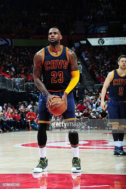 LeBron James of the Cleveland Cavaliers shoots against the Atlanta Hawks during Game Three of the Eastern Conference Semifinals during the 2016 NBA...