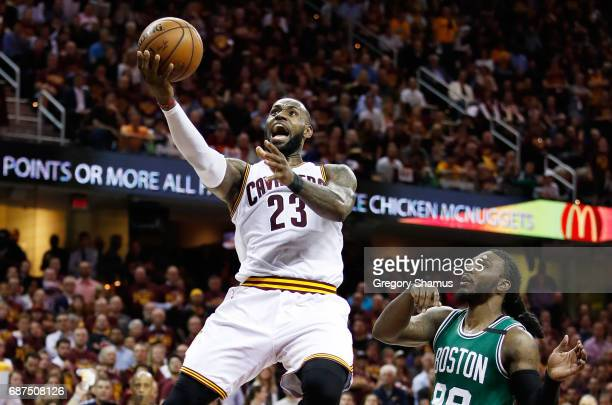 LeBron James of the Cleveland Cavaliers shoots against the Boston Celtics in the fourth quarter during Game Four of the 2017 NBA Eastern Conference...