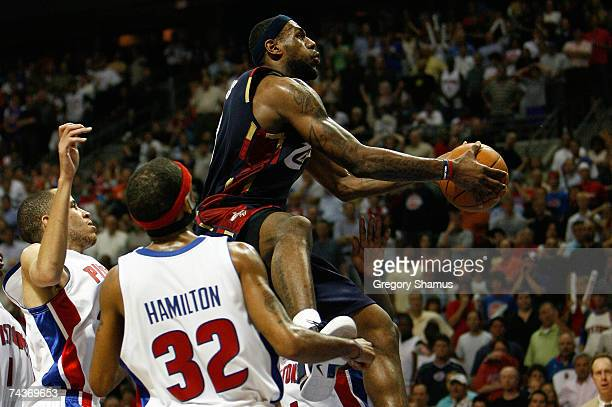 LeBron James of the Cleveland Cavaliers shoots and makes the gamewinning shot with 02 seconds left in the 2nd overtime against Richard Hamilton and...
