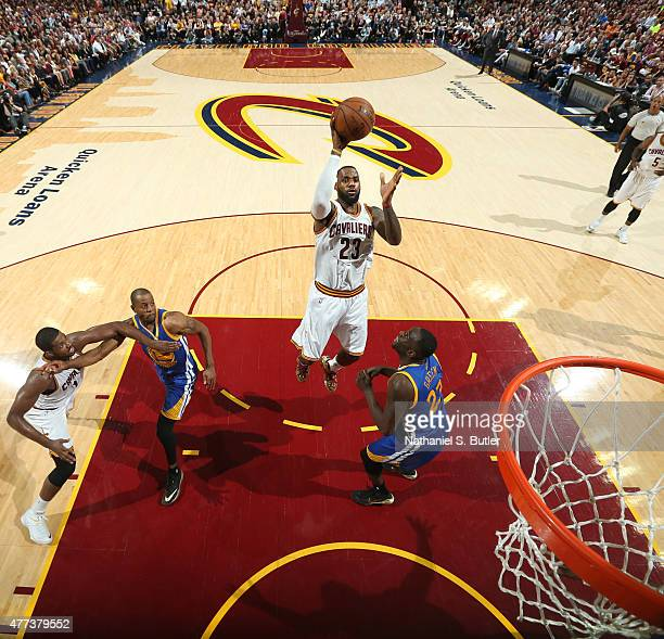 LeBron James of the Cleveland Cavaliers shoots during Game Six of the 2015 NBA Finals at The Quicken Loans Arena on June 16 2015 in Cleveland Ohio...