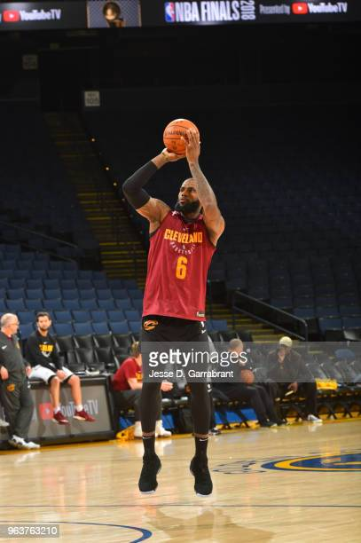 LeBron James of the Cleveland Cavaliers shoots during practice and media availability as part of the 2018 NBA Finals on MAY 30 2018 at ORACLE Arena...