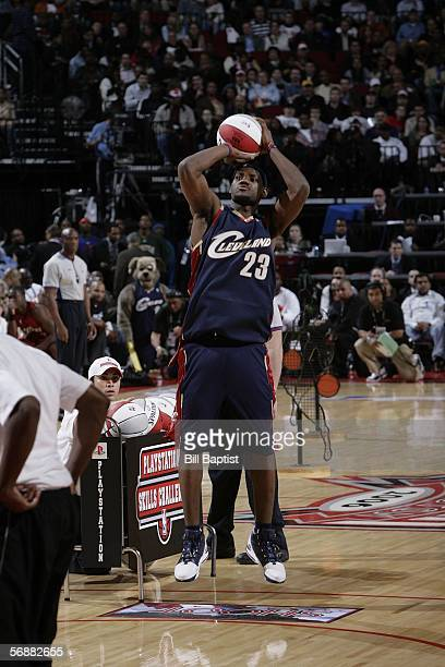 LeBron James of the Cleveland Cavaliers shoots during the PlayStation Skills Challenge held during All Star weekend on February 18 2006 at the Toyota...