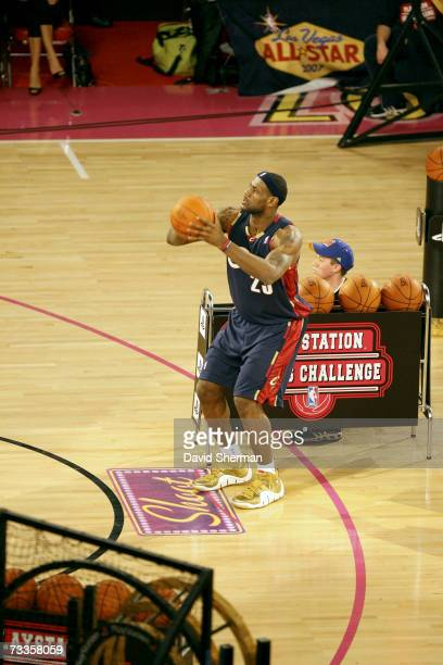 LeBron James of the Cleveland Cavaliers shoots during the PlayStation Skills Challenge at NBA All-Star Weekend at the Thomas & Mack Center February...