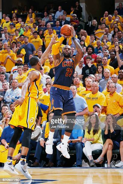 LeBron James of the Cleveland Cavaliers shoots in the fourth quarter of Game Five of the Eastern Conference First Round during the 2017 NHL Stanley...