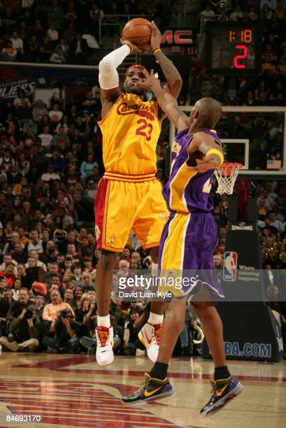 LeBron James of the Cleveland Cavaliers shoots over Kobe Bryant of the Los Angeles Lakers at The Quicken Loans Arena on February 8 2009 in Cleveland...