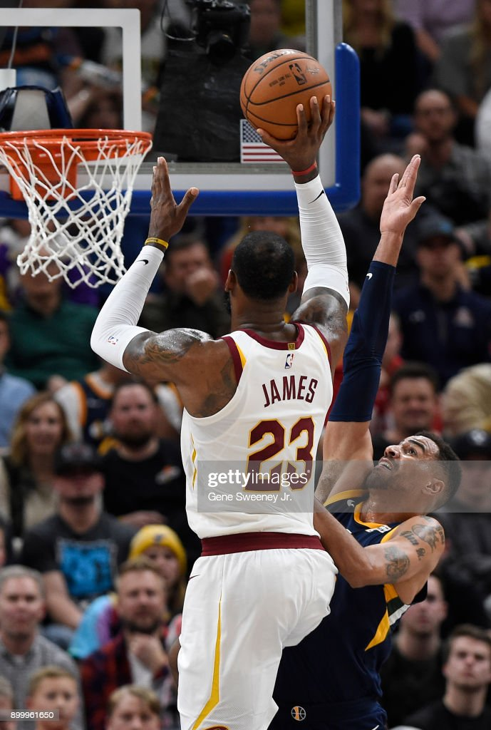 LeBron James #23 of the Cleveland Cavaliers shoots over Thabo Sefolosha #22 of the Utah Jazz in the second half of the 104-101 win by the Utah Jazz at Vivint Smart Home Arena on December 30, 2017 in Salt Lake City, Utah.