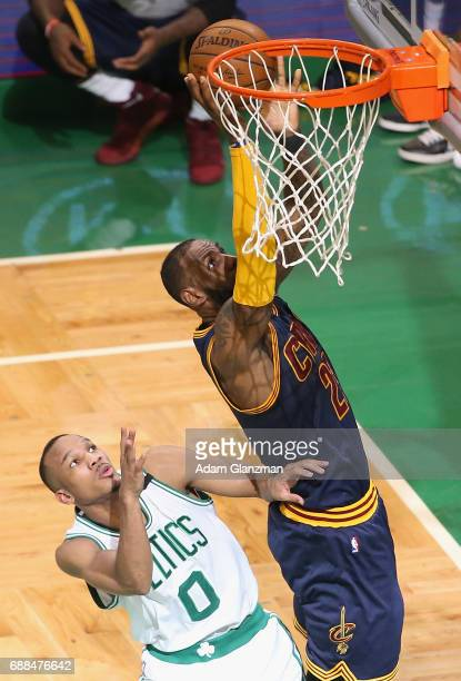 LeBron James of the Cleveland Cavaliers shoots the ball against Avery Bradley of the Boston Celtics in the first half during Game Five of the 2017...